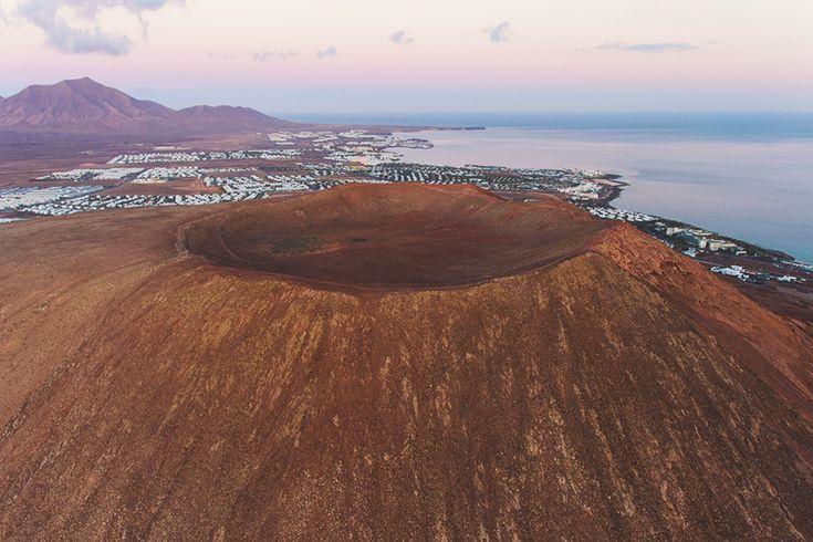 Traveling in Lanzarote - Montaña Roja volcano in Playa Blanca - Drone