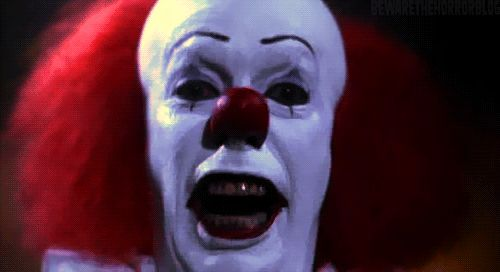 "Pennywise the clown from Stephen King's ""It.""  Scariest clown EVER"
