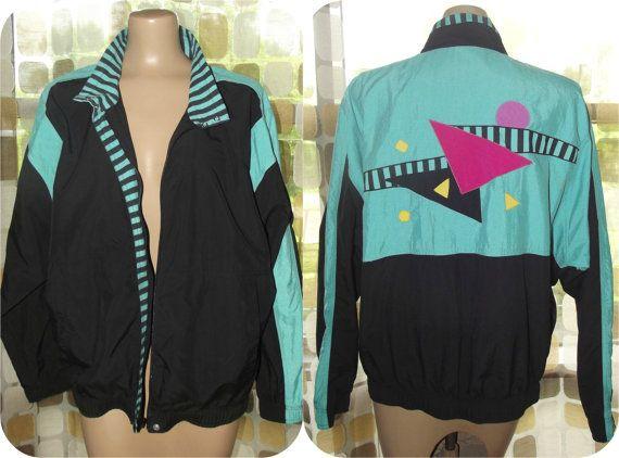 Vintage 80s Windbreaker Jacket  90s Windbreaker  by IntrigueU4Ever
