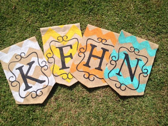 Burlap Yard Flag Chevron Scroll and Initial Your Choice Color