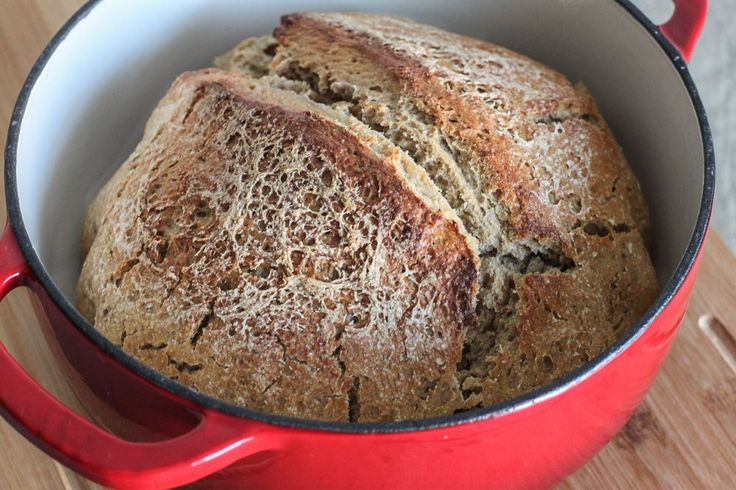 A super easy recipe for dutch oven sourdough bread. This recipe uses a sourdough starter instead of packaged yeast. It's easy to follow and tastes delicious.