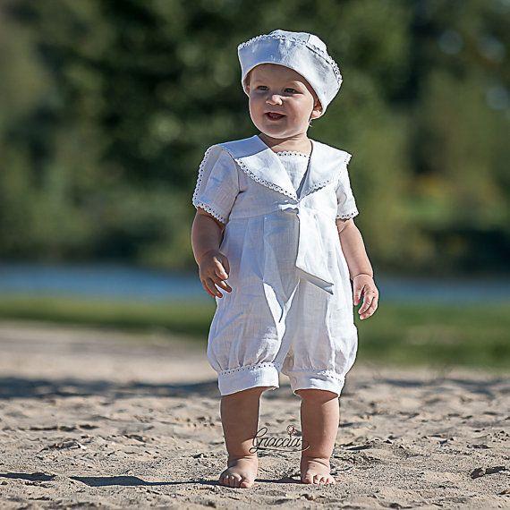 Bébé garçon baptême tenue sailor barboteuses bébé par Graccia