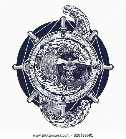 Steering wheel ship tatto art, sea tattoo and t-shirt design. Lighthouse storm. Decorative lighthouse. Searchlight tower for maritime navigational guidance tattoo.  Ocean wave storm art
