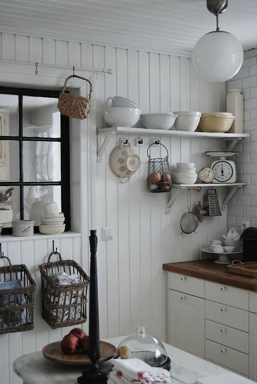 farmhouse kitchen~~~Love the beadboard walls and the bowls on the top shelf.~~~
