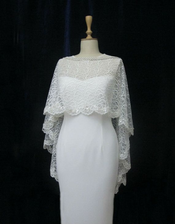 Ivory Lace Bridal Cape Shawl Lace Shrug Wedding Wrap by gebridal, $110.00