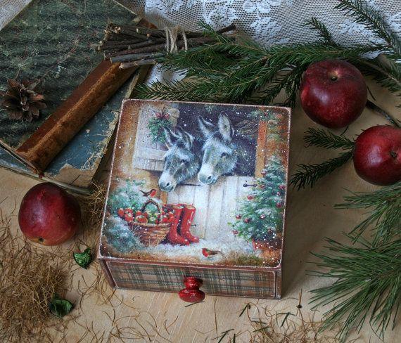 Xmas Trinket boxwooden storage box Handmade wood box от DecoDvorik