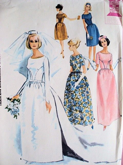 1960s Audrey Style Wedding Gown Bridal Bridesmaid Dress Pattern Detachable Train, 2 Lengths Beautiful Classic Designs McCalls 7572 Vintage Sewing Pattern Bust 32