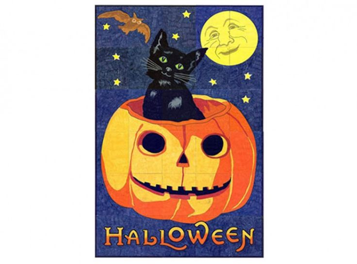 """Vintage Halloween Mural. A collaborative art project for students. Mural measures 40"""" x 60"""" when complete. Buy my $5 PDF template and print as many as you want. #vintagehalloween #halloweenart"""