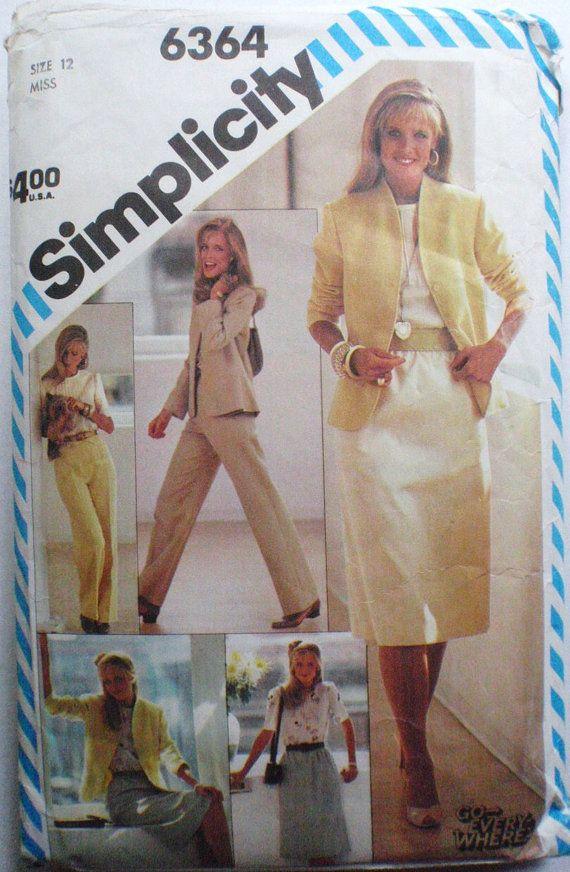 Lépj Mindenhol szabásmintát - Szoknya, egyenes láb nadrág, blúz és bélelt kabát - öltönyt - Simplicity 6364 - méret 12, Mell 34