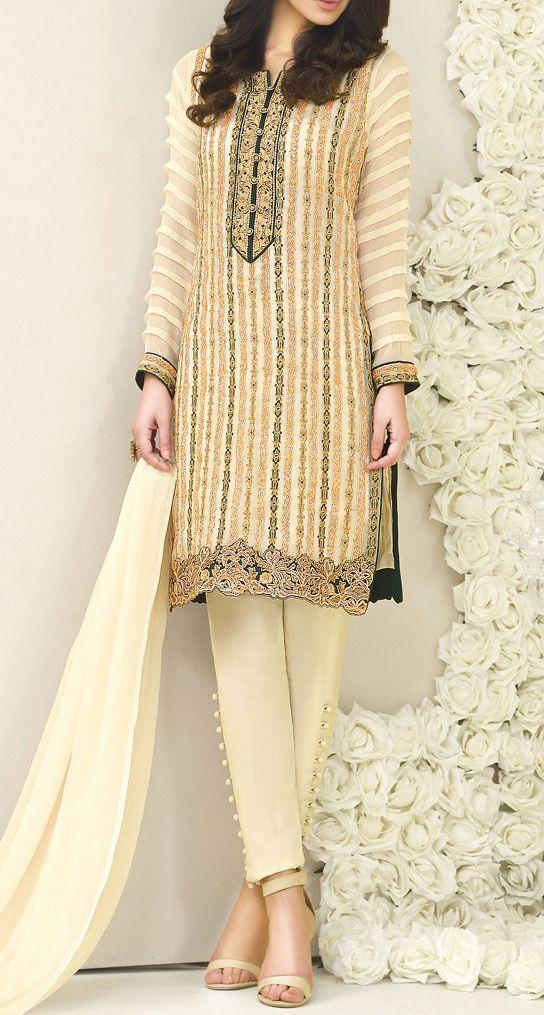 Buy Ivory Embroidered Chiffon Dress by Asim Jofa 2016
