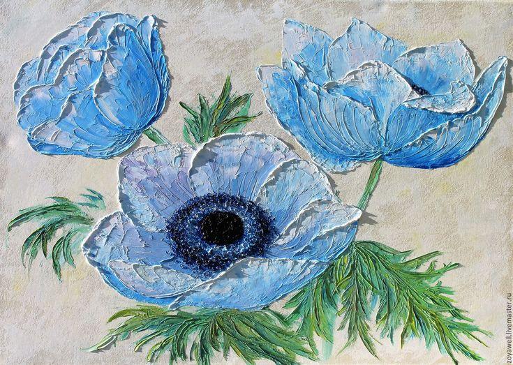 """Купить """"Анемоновая нежность"""" - авторская картина маслом с цветами - голубой, анемоны, цветы, картина в подарок"""