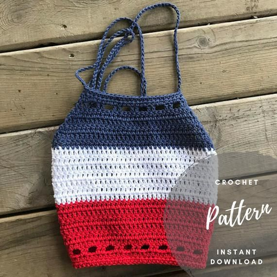 Hippie Style Boho 4th of July Fashion Top Red White /& Blue Crochet Halter Crop Top Women/'s Summer Cropped Tops