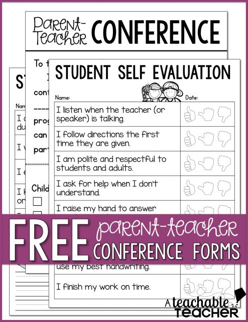 Parent-Teacher Conference Forms - A Teachable Teacher