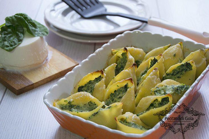 ricetta conchiglioni ricotta e spinaci, peccato di gola