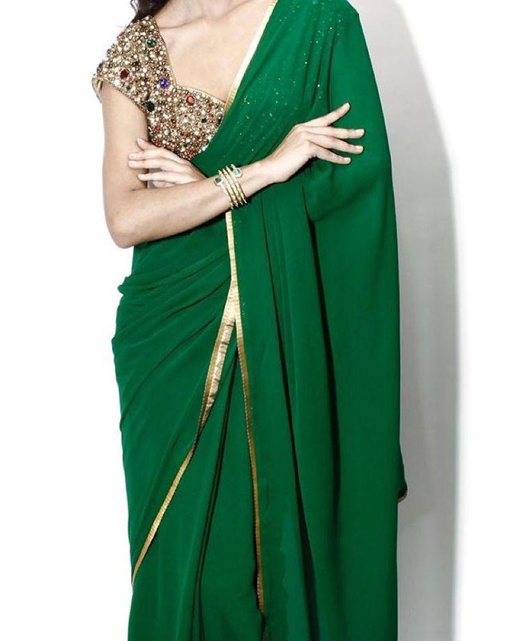 """""""An #emerald #green love affair .. @seemakhan76 saree! #couture"""""""
