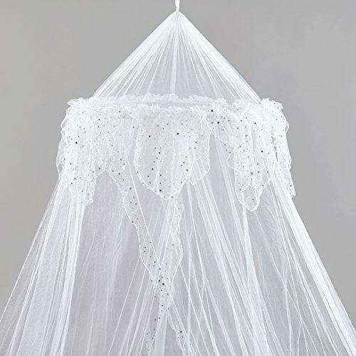Princess Bed Canopy - Beautiful Silver Sequined Childrens Bed Canopy in White Quick and Easy To Hang Bedroom Accessories