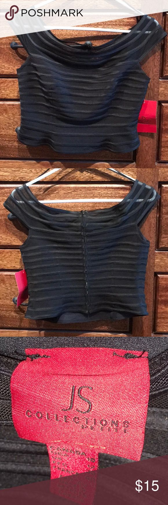 Evening Wear Top Black Top To Wear For The Holidays Or Just A Night Out! JS Collections Tops Crop Tops
