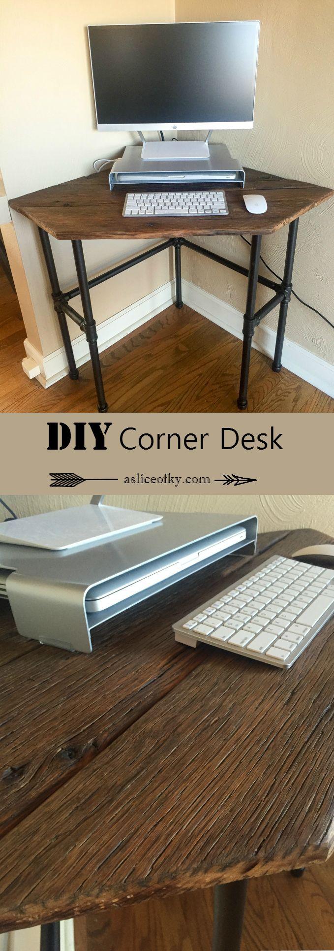 20 best images about office on pinterest base cabinets for Diy corner desk