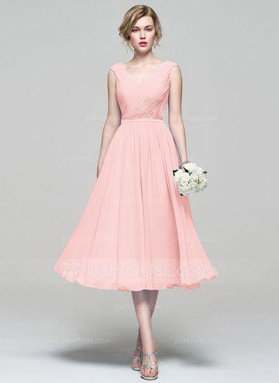 Forme Princesse Col V Longueur mollet Mousseline de soie Robe de demoiselle…