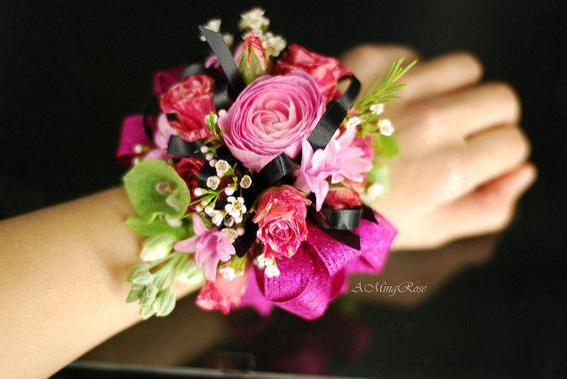 Hot Pink Wrist Corsage | Ranunculus, Spray Roses, Hyacinth, … | Flickr