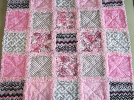 Baby girl pink and gray rag quilt lovey / by SmokyMtnMemories