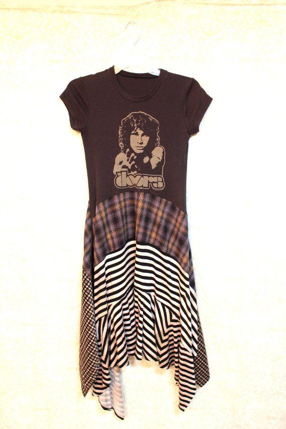 REVIVAL Boho TShirt, Bohemian Junk Gypsy Style, Country Girl Chic, Free People Style, Grunge Rocker Goth Plaid, Doors Jim Morrison Rock Band TShirt
