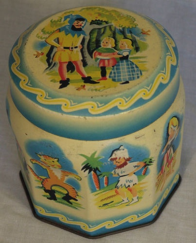 VINTAGE THORNES TOFFEE TIN 1950s NURSERY STORY CHARACTERS RED RIDING HOOD