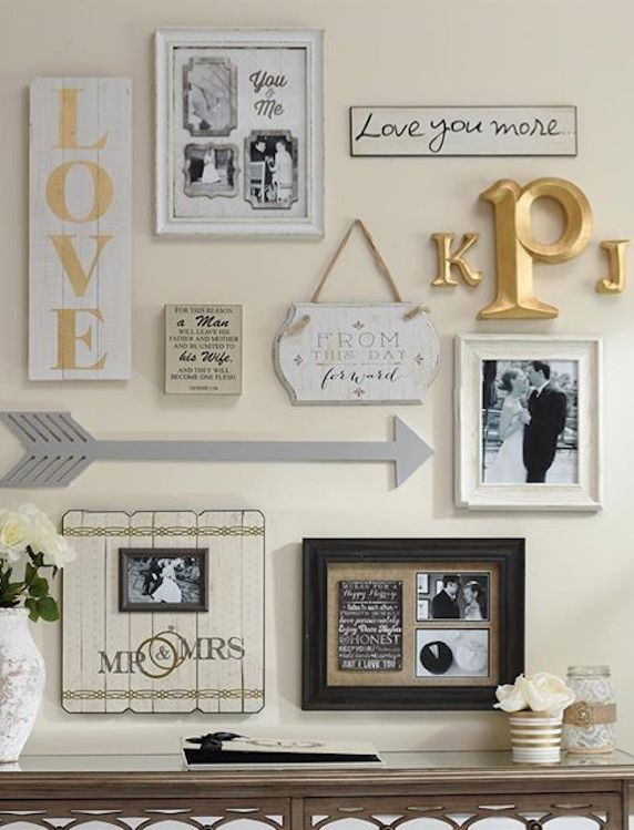 Put a little love into your gallery wall. This wall showcases a marriage of two…