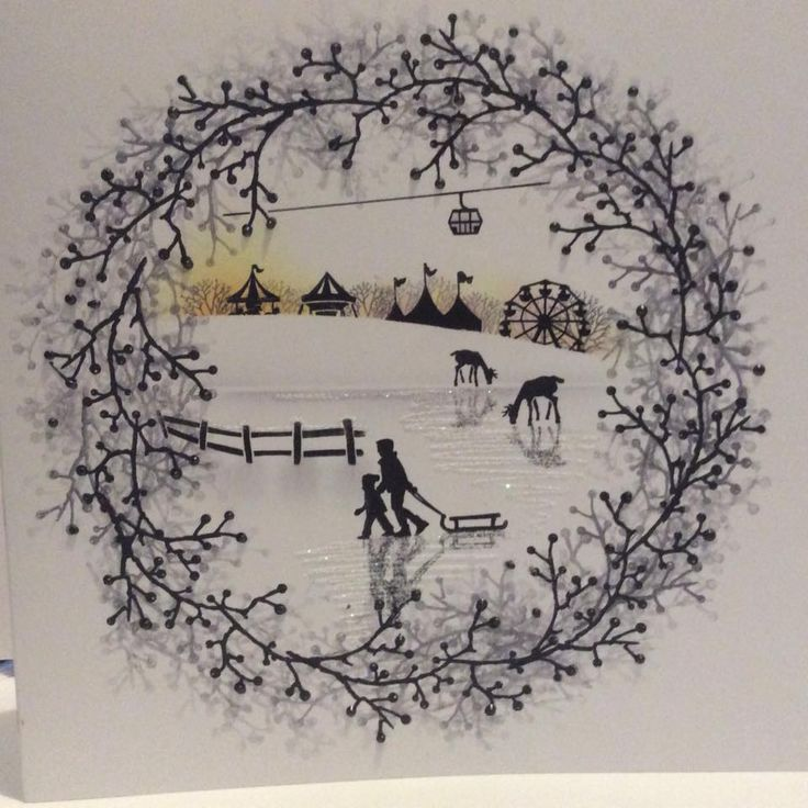 Branching out Wreath with Festive Scene of Deer