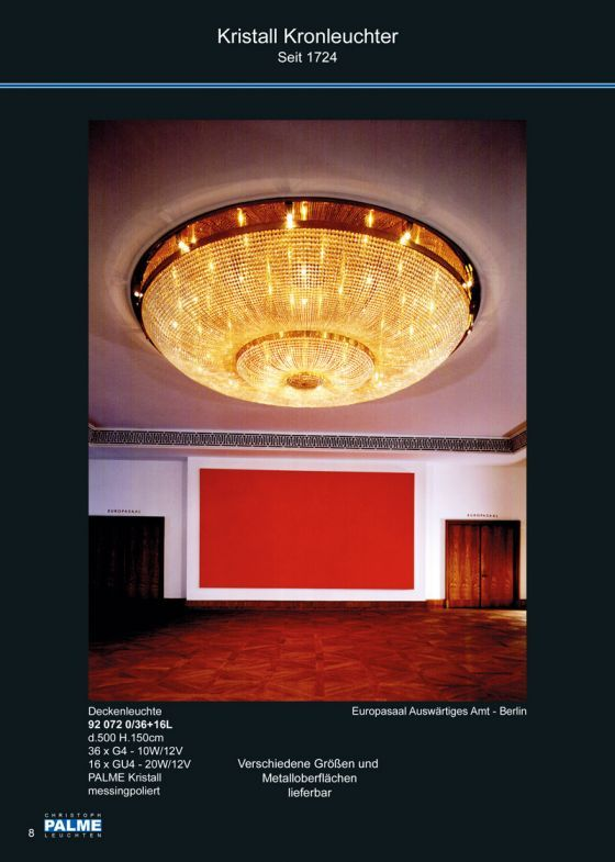 Crystal Chandelier Www.palme-leuchten.de  Kristall Deckenleuchte - Auswärtiges Amt, Berlin
