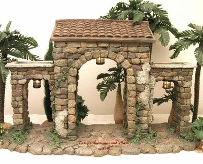 "FONTANINI ITALY 5""RETIRED LIGHTED TOWN GATE NATIVITY VILLAGE ACCESSORY 50252 BOX"