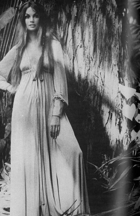 Jean Shrimpton does her best hippie impression in Vogue, 1970. Photo by David Bailey.