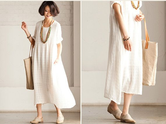 Loose Fitting Long Maxi Dress - Summer Dress in White(R) - Short Sleeve Cotton Sundress for Women