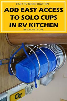 Add quick access to Solo Cups in your RV Kitchen with this easy RV mod | RV Modification | RV Upgrade