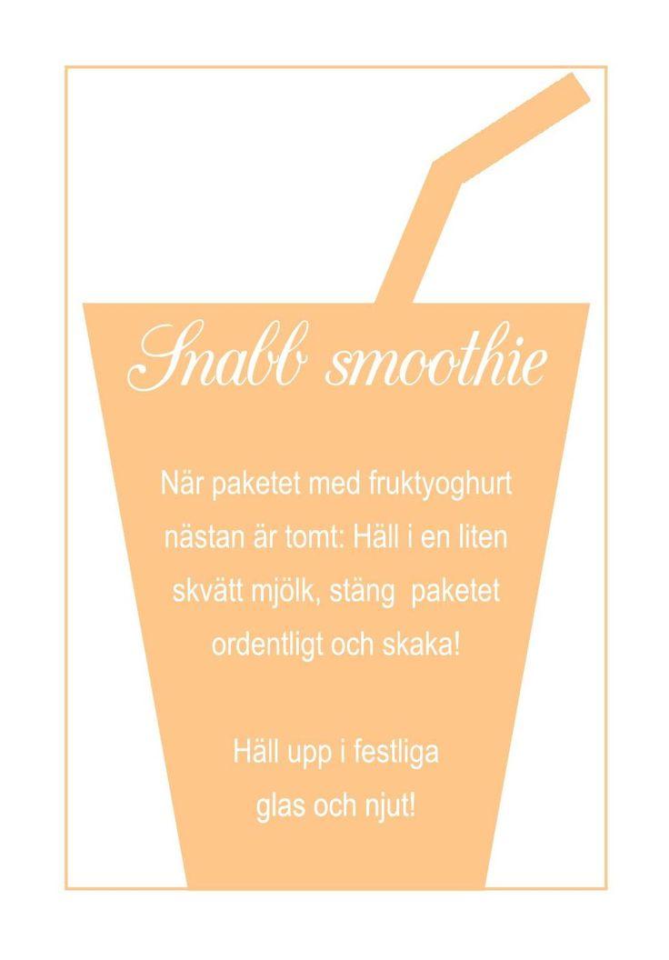 Recept på smoothie utan rester Yoghurt, mjölk