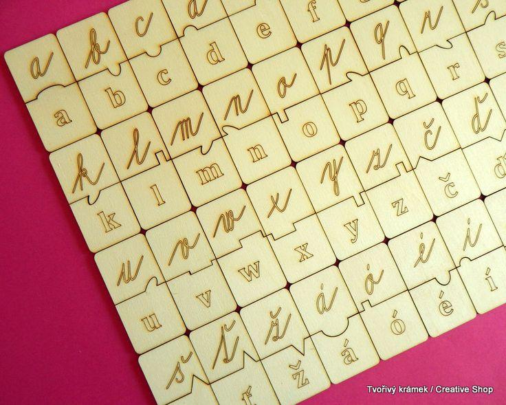 Puzzle psací abeceda MALÁ PÍSMENA - silné 6 mm