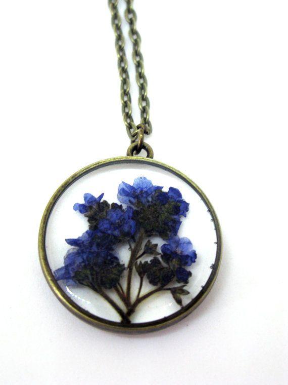 Vergeet me niet hanger ketting - echte geperst bloemen ingekapseld in hars - hars sieraden - ingedrukt Flower Jewelry Flower Jewelry - Open terug hars hanger