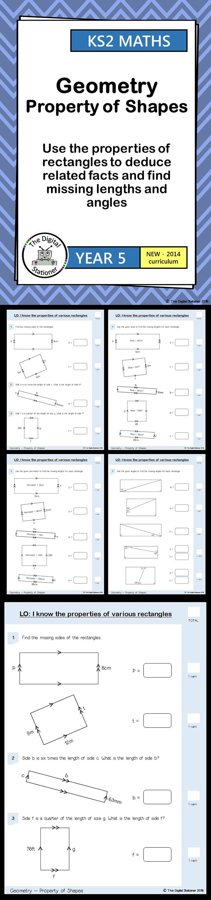 Year 5 - Properties of Rectangles - Geometry - Property of Shape (inc. mastery). 8 PDF printables. These include worksheets, mastery, extension and resource cards all designed for the 2014 curriculum.