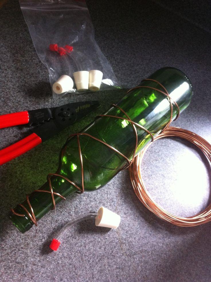 How to make a wine bottle hummingbird feeder. www.ContainerWaterGardens.net