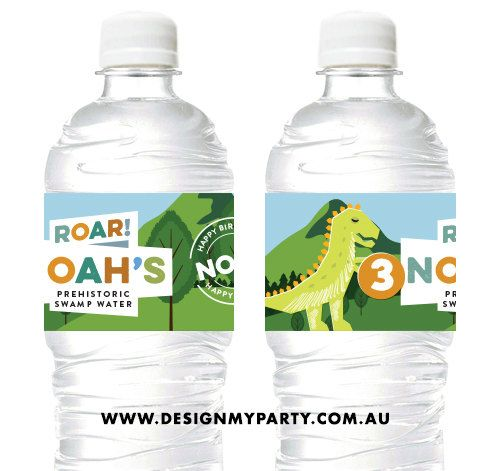 Dinosaur Party Water Soda Labels DIY by DesignMyPartyShop on Etsy