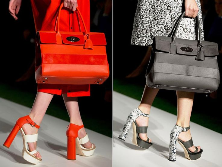 Mulberry Fiery Red Bayswater with Stripes and Black Bag Runway Spring 2014