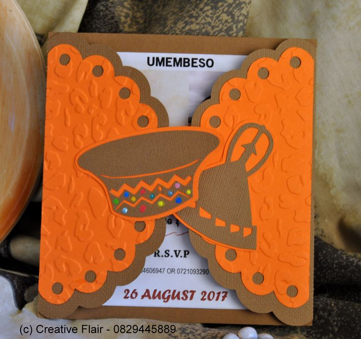Traditional Zulu and Lesotho Umembeso wedding invitation - Copy right of Creative Flair - 0829445889