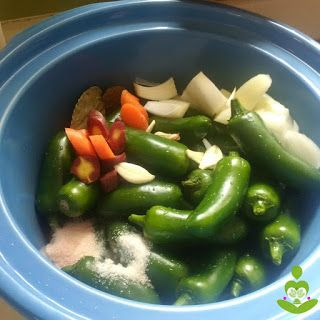 Easy Slow Cooker Pickled Jalapeno Peppers:  Real Food, Paleo, Whole30, Vegan #realfood #realfoodnutrition #realfoodnutritionist #paleo #lchf #whole30 #wapf #weightloss #slowcooker #loseweight #holisticinstincts  #naturalbeauty #naturalhealth #diy #diybeauty