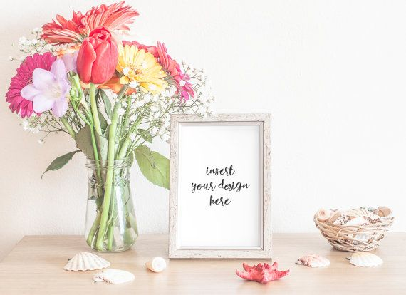 Silver-Grey Frame Mockup With Sping Flowers And Sea by JeanBalogh