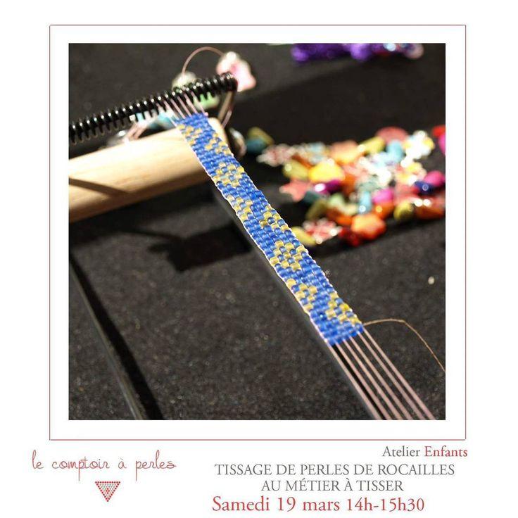 ATELIER - Pas d'activités prévues pour vos enfants ce week-end? A ne pas rater ce samedi un atelier enfants de tissage au métier à tisser, l'occasion d'enfin apprendre à tisser comme les indiennes et de repartir avec son joli bracelet! #lecomptoiraperles #atelier #workshop #perles #rocailles #metieratisser #seedbeads #beadloom #tissageperles #loom #beading #handmade #faitmain #handmadejewelry #creation #créativité #bijoux #jewels #instajewels #enfants #children #jesuisunesquaw…