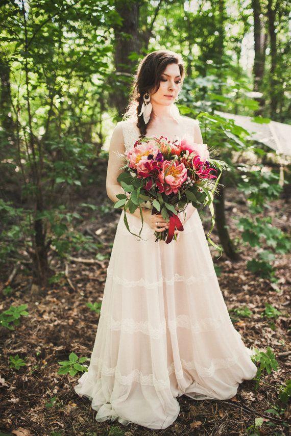 Bohemian coffee shade silk lining wedding dress Deer