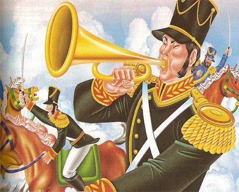 CLARÍN: Instrumento musical de viento, de metal, semejante a la trompeta, pero más pequeño y de sonidos más agudos