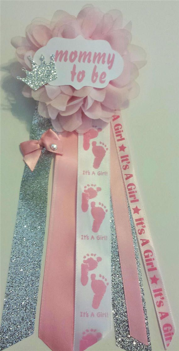 Mommy to be Pink and Silver Princess baby shower Corsage mum Favor Pin  Silver or Gold