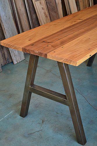 Elm Table, Metal Base