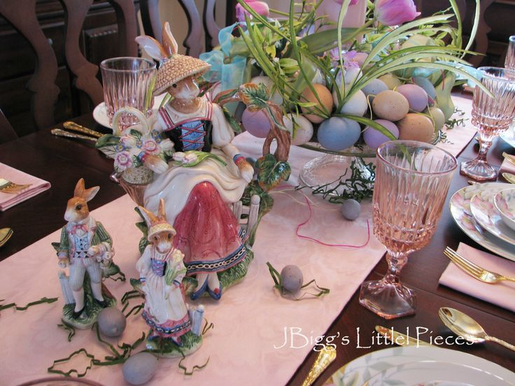 My Easter tablescape features an egg wreath that is now a centerpiece, my NoritakeAzaleaChina and some Fitz and Floyd Easter pieces.      ...